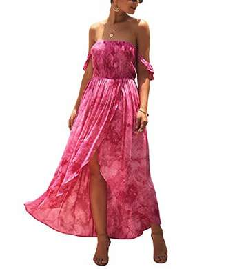 KIRUNDO Women's Fashion Summer Dress Off Shoulder High Waist Tie Dye High Front Split Elastic Maxi Dress (