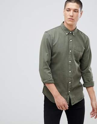 Pull&Bear Denim Shirt In Khaki