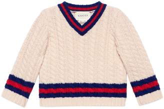 Gucci Baby wool sweater with Web