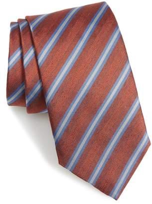 David Donahue Stripe Silk & Cotton Tie