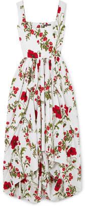 Alexander McQueen Gathered Floral-print Cotton-poplin Gown - Ivory
