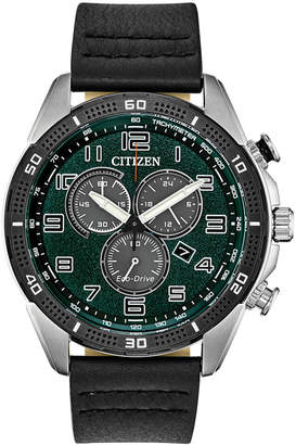 0e4ac9165 Citizen Drive From Eco-Drive Men Chronograph Ltr Black Leather Strap Watch  45mm