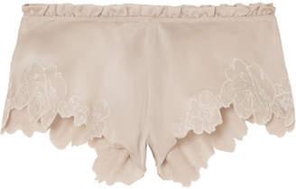Carine Gilson Chantilly Lace-trimmed Silk-satin Shorts - Beige
