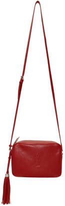 Saint Laurent Red Medium Embossed Lou Camera Bag