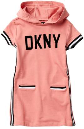 DKNY Short Sleeve Hooded Dress (Little Girls)