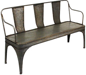 One Kings Lane Addison Industrial Bench - Aged Pewter