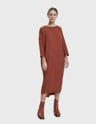 Black Crane Pleated Cocoon Dress in Brick