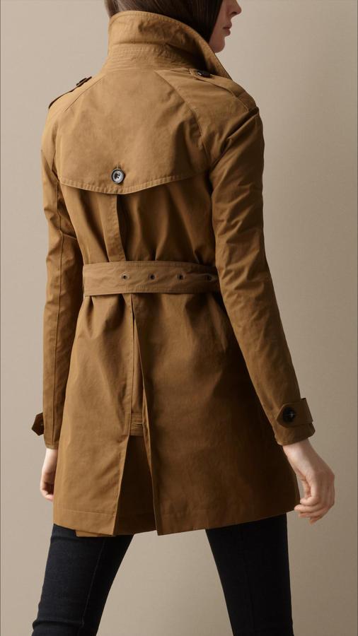 Burberry Short Cotton Satin Trench Coat