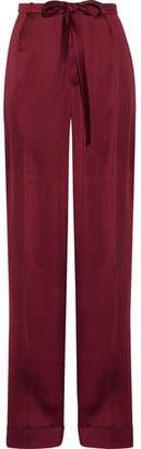 Valentino Pleated Silk-satin Wide-leg Pants - Burgundy