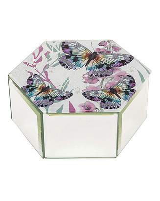 West Ham United Butterfly Glass Hexagon Trinket Box