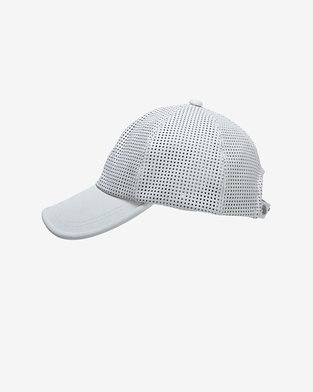 Exclusive for Intermix Perforated Leather Baseball Cap: White