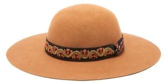 Etro Embellished Trim Felt Hat - Womens - Beige
