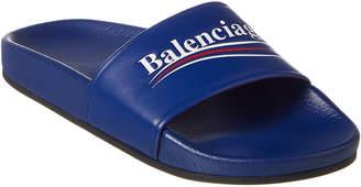 Balenciaga Campaign Leather Pool Sandal
