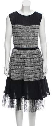 RED Valentino Patterned Ruffle-Hem Dress