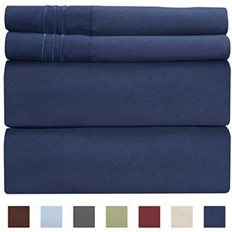 +Hotel by K-bros&Co Full Size Sheet Set - 4 Piece - Hotel Luxury Bed Sheets - Extra Soft - Deep Pockets - Easy Fit - Breathable & Cooling - Wrinkle Free - Comfy – Navy Blue Bed Sheets – Fulls Royal Sheets – 4 PC