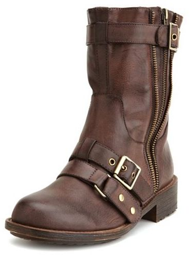 Charlotte Russe Zipper-Trim Motorcycle Boot