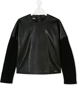 DSQUARED2 TEEN leather effect sweatshirt