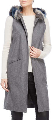Steve Madden Grey Faux Fur Trim Hooded Vest