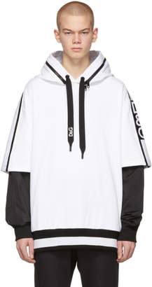 Dolce & Gabbana White and Black Removable Sleeves Millennials Hoodie