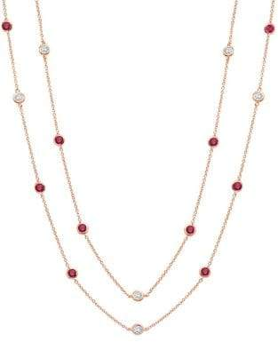 Crislu Precious Strands Pave 18K Rose Gold Plated Chain Necklace