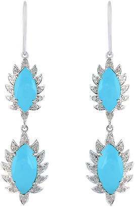 Meghna Jewels 18k Gold Double Drop Marquise Claw Earrings