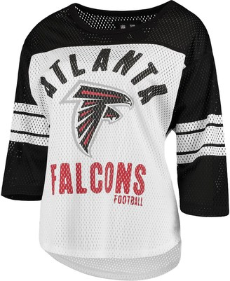 G Iii Women's G-III 4Her by Carl Banks White/Black Atlanta Falcons First Team Three-Quarter Sleeve Mesh T-Shirt