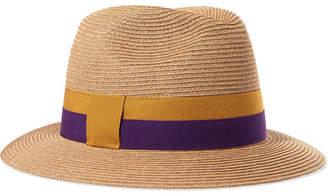 Eres Leone Grosgrain-trimmed Woven Paper Hat - Neutral