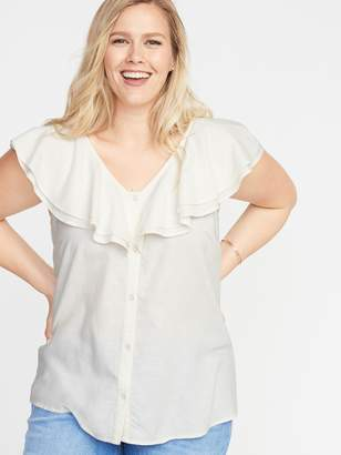 Old Navy Ruffled V-Neck No-Peek Button-Front Plus-Size Blouse