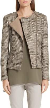 Lafayette 148 New York Trista Tweed & Leather Jacket