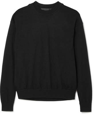 Alexander Wang Layered Merino Wool And Cotton-blend Sweater - Black