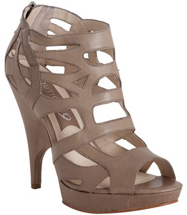 Boutique 9 dark khaki leather 'Helene' caged booties