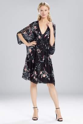 Natori Josie Pressed Flower Printed Silk Chiffon Caftan Dress