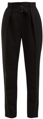 Givenchy High Rise Tapered Wool Trousers - Womens - Black