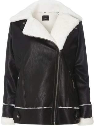 Dorothy Perkins Black Coated Faux Shearling Biker Jacket
