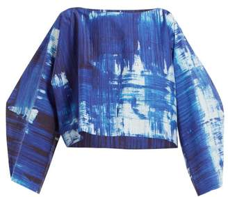 Issey Miyake Brush Stroke Print Cotton Blend Cropped Top - Womens - Blue Print