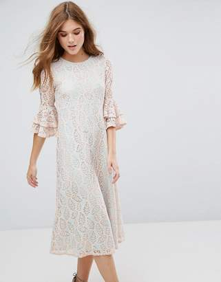 Traffic People Contrast Lace Overlay Midi Dress With Frill Sleeve