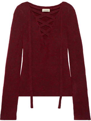 L'Agence Candela Lace-up Knitted Sweater - Burgundy