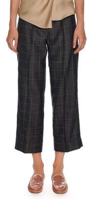 Giorgio Armani Windowpane-Check Wide-Leg Belted Crop Pants