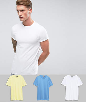 Asos DESIGN Muscle Fit T-Shirt With Roll Sleeve 3 Pack SAVE