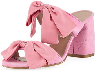 Tabitha Simmons Barbi Bow Suede Slide Sandals, Pink