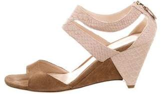 Fendi Suede & Embossed Leather Wedge Sandals