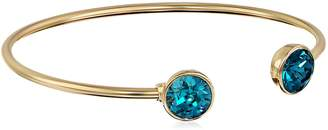 Michael Kors Oroclone 14k Plated 10mm Blue Zircon Swarovski Bangle Bracelet
