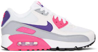 Nike White and Pink Air Max 90 Sneakers