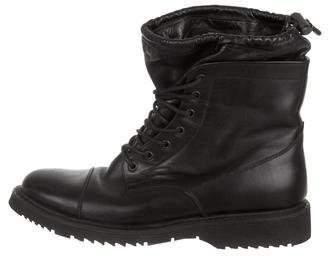 Prada Leather Cap-Toe Combat Boots