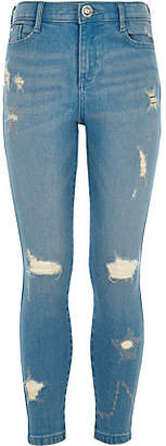 River Island Girls Blue star ripped Amelie skinny jeans