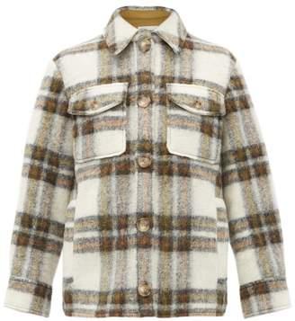 Etoile Isabel Marant Gaston Oversized Checked Wool Blend Coat - Womens - Ivory Multi