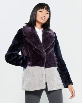 French Connection Faux Fur Color Block Coat