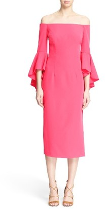 Women's Milly Selena Off The Shoulder Midi Dress $485 thestylecure.com