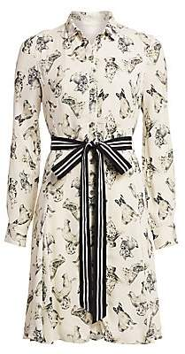 Lela Rose Women's Ribbon Belt Dog Print Shirtdress