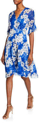 Elie Tahari Ava Floral-Print Surplice Short-Sleeve Silk Dress